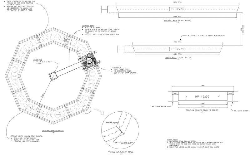 Secant Pile Cofferdam Installation Frame
